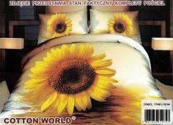 Pościel 3D Kwiaty - Słonecznik  Cotton World 160x200 100% mikrowłókno. Pościel 3D z Kwiatami