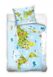 Pościel dla dzieci Mapa Świata 160x200 Carbotex 100% bawełna. Pościel z mapą świata.