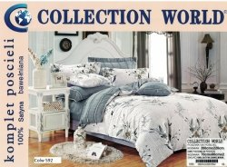 Pościel Collection World 200x220 Szara w Kwiaty wz 592