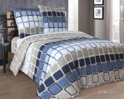 Pościel bawełniana 160x200 Beżowa - Niebieska Luxury 100% bawełna. Pościel w Kratę 160x200