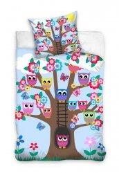Pościel niemowlęca 100x135 Sówki na drzewie - Niebieska Carbotex 100% bawełnan OWL 161005