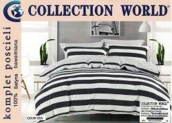 Pościel Collection World 200x220 Biało Czarna 100% bawełna wz 655