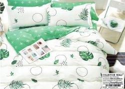 Pościel Collection World 160x200 Ecru - Zielona w Kwiaty 100% bawełna wz 1229