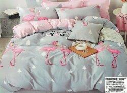 Pościel Collection World 200x220 Szara - Różowa we Flamingi 100% bawełna wz 1215