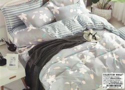 Pościel Collection World 200x220 Szara w Kwiaty 100% bawełna wz 1126