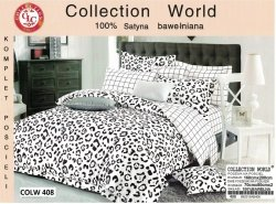 Bawełniana pościel Collection World 160x200 cm Biało - Czarna Panterka 100% bawełna wz 408