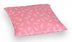 Poduszka z piór dartych 50x60 cm Różowa w białe piórka. Poduszka pierze darte Polpuch