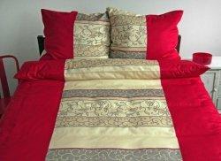 Ekskluzywna pościel satynowa Andropol 160x200 cm 100% bawełna wz. 17348/1. Czerwona - Ecru pościel 160x200