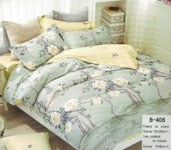 Pościel Mengtianzi 160x200 Szara w Kwiaty 100% bawełna B-406