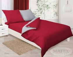 Pościel dwustronna satynowa Czerwono - Szara Matex Gold 200x220 100% bawełna wz 20+42