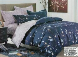 Pościel Collection World 160x200 Granatowa w Kwiaty 100% bawełna wz 1078
