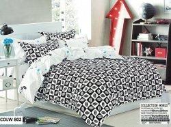 Pościel Collection World 160x200 Biało - Czarna w Liście 100% bawełna wz 802