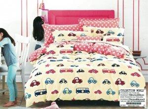 Pościel Collection World 160x200 dla dzieci - Ecru w Samochodziki - 100% bawełna wz 1022
