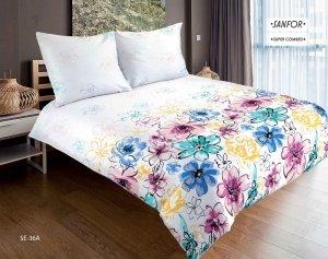 Pościel satynowa Matex Exclusive 160x200 Biała w Kwiaty wz SE-36A