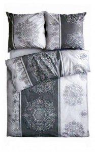 Ekskluzywna pościel satynowa Andropol 160x200 cm 100% bawełna wz. 18473/3. Szara pościel 160x200