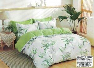 Pościel Collection World 160x200  Biało - Zielona  w Liście 100% bawełna wz 1415