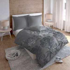 Pościel bawełna-satynowa 200x220 Szara w Róże 100% bawełna Tęcza wz 1084