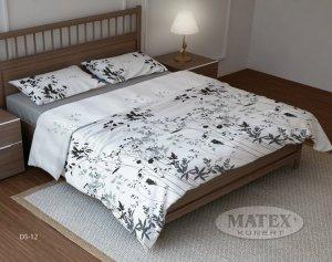 Pościel bawełniana Matex 160x200 Biała w Kwiaty DeSatin DS-12
