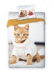Pościel młodzieżowa 3D 160x200 z Kotem Carbotex Faro 100% bawełna. Pościel 3D z kotkiem 160x200 Best 001
