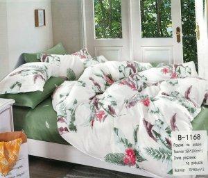 Pościel Mengtianzi 180x200 Zielona - Biała w Kwiaty  100% bawełna B-1168