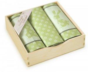 Komplet kuchenny w drewnianym pudełku. Ścierki kuchenne Zwoltex Szarak Oliwkowy 2x50x70 + 1x30x50 cm