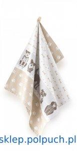 Ściereczka kuchenna Zwoltex Aleks Beżowa - 50x70 cm - bawełna egipska. Ściereczka z psami