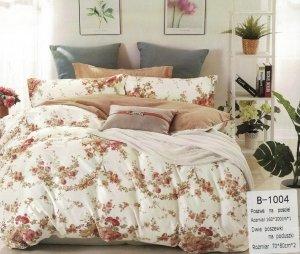 Pościel Mengtianzi 160x200 Biała - Brązowa w Kwiaty 100% bawełna wz B-1004
