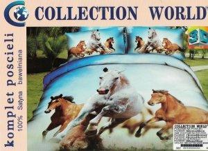 Ekskluzywny komplet pościeli Collection World 3D 160x200 cm Konie w Galopie. Pościel 160x200 3D wz 332