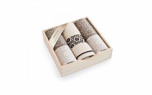 Komplet kuchenny w drewnianym pudełku. Ścierki kuchenne Zwoltex Marsala Beżowy 2x50x70 + 1x30x50 cm