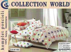 Pościel Collection World Biała - Beżowa w gwiazdki 160x200 100% bawełna wz 493 Młodzieżowa