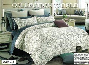 Pościel Collection World 160x200 Ecru - Granatowa  100% bawełna wz 732