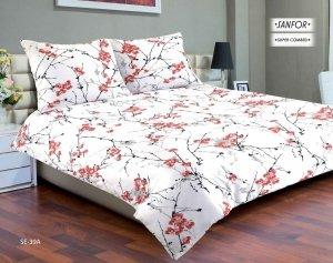 Pościel satynowa Matex Exclusive 160x200 Biała w Kwiaty wz SE-39A