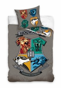 Pościel młodzieżowa Harry Potter - Gryfinfor - Hufflepuff - Ravenclaw - Slytherin   140x200 Carbotex 100% bawełna HP 201041