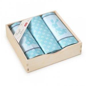 Komplet kuchenny w drewnianym pudełku. Ścierki kuchenne Zwoltex Szarak Turkus 2x50x70 + 1x30x50 cm