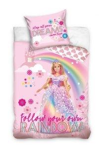 Pościel Barbie 140x200 Różowa dla dziewczynki Carbotex BARB202004