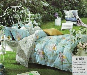 Pościel Mengtianzi Niebieska w Kwiaty 160x200 100% bawełna B-589