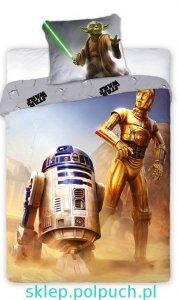Pościel Star Wars Gwiezdne Wojny R2D2 - C3PO - Luke Skywaker - Yoda160x200. Dwustronny komplet pościeli Star Wars 160x200 Faro 100% bawełna wz 020
