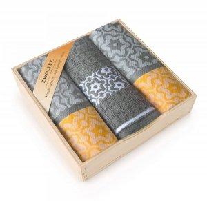 Komplet kuchenny w drewnianym pudełku. Ścierki kuchenne Zwoltex Marsala Żółty 2x50x70 + 1x30x50 cm