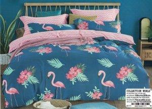 Pościel Collection World 160x200 Ciemny Turkus - Róż we Flamingi 100% bawełna wz 1171