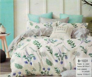 Pościel Mengtianzi 160x200 Ecru - Szara w Kwiaty 100% bawełna wz B-1031