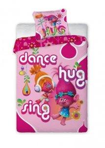 Pościel Disney Trolle dla dziewczynki 160x200 Faro 100% bawełna. Pościel licencyjna Trolls