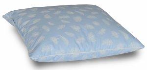 Poduszka z pierza dartego 40x40 cm Niebieska w białe piórka. Poduszka pióra darte Polpuch