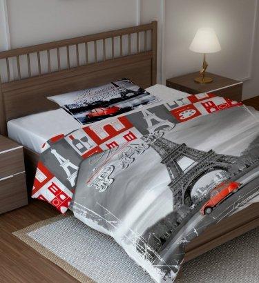 Pościel młodzieżowa 3D 160x200 Paryż - Wieża Eiffla - Citroen 2VC Faro 100% bawełna City 04 Paris