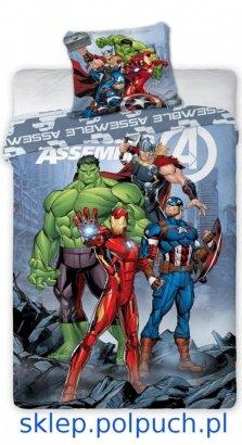 Pościel Avengers 160x200 . Dwustronny komplet pościeli Avengers - HULK - IRONMAN-THOR-KAPITAN AMERYKA160x200 Faro 100% bawełna wz Avengers 010