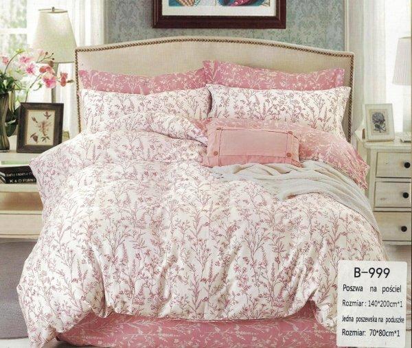 Biało - Różowa pościel w Kwiaty 140x200 cm - Mengtianzi