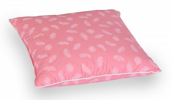 Poduszka pióra darte 40x40 cm Różowa w białe piórka