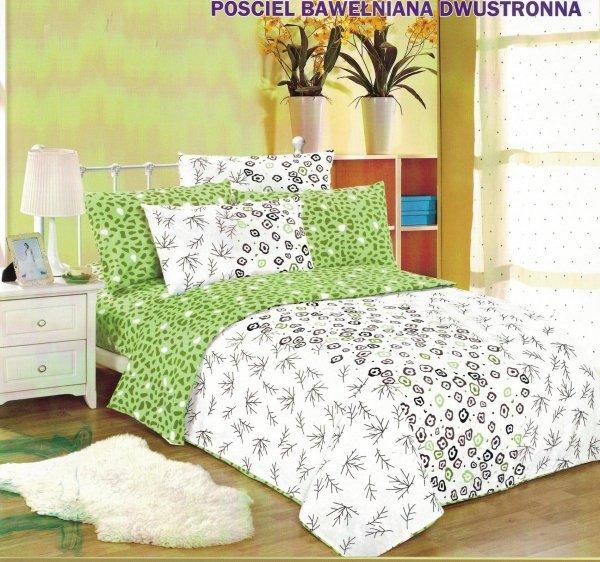 Pościel Cotton World 160x200 Biało - Zielona