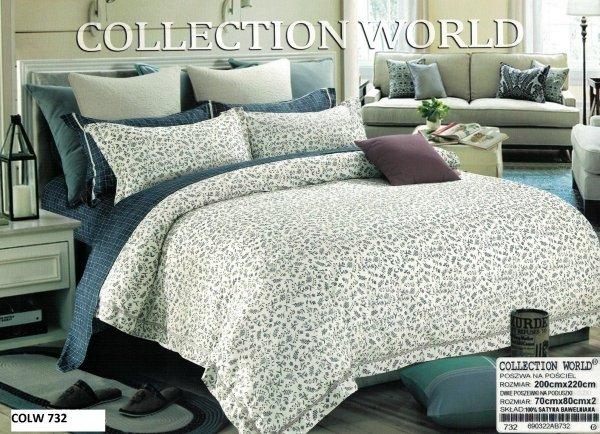 Pościel Collection World 200x220 Ecru Granat 100% bawełna wz 732