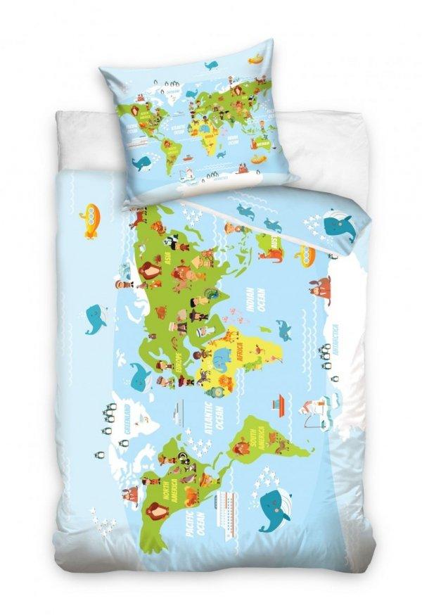 Pościel dla dzieci mapa świata 160x200 Carbotex