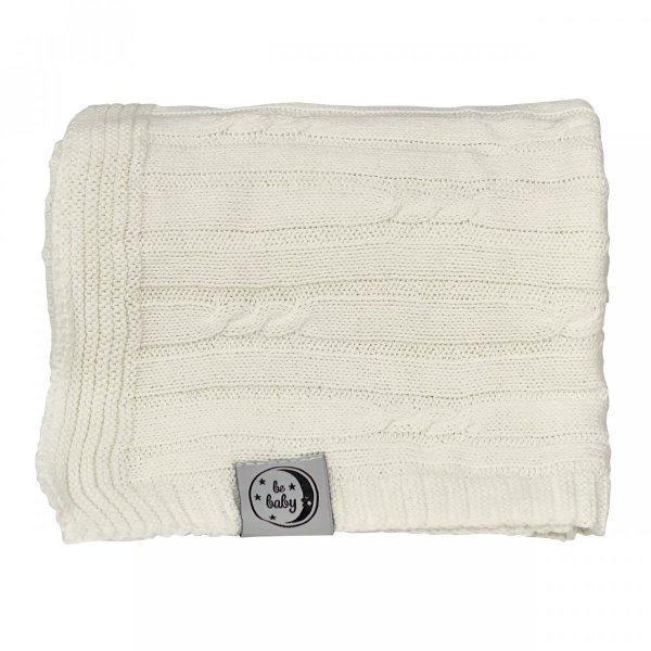 Kremowy kocyk dla niemowląt 75x100 - czysta bawełna